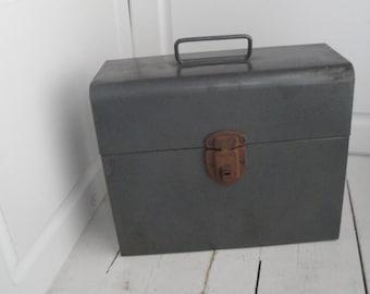 Vintage Metal File Box Amfile Gray Industrial Rusty