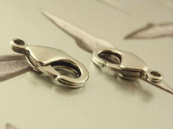 2 Stainless Steel Lobster Clasps - Teardrop Style - Best Commericially Made - You Pick From Seven Sizes - 100% Guarantee