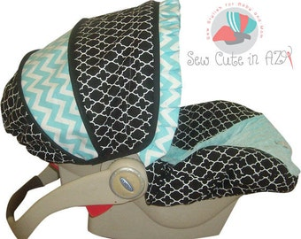 Black Quarterfoil with Tiffany blue chevron infant carseat cover moves to toddler
