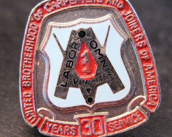 35 Years Service Award Pin United Brotherhood of Carpenters & Joiners Labor Union Vintage Jewelry Jewellery