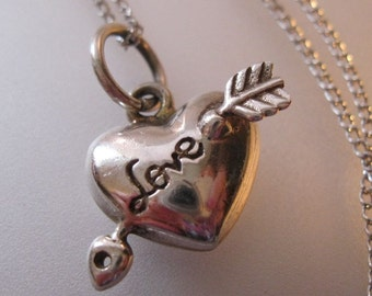 """Vintage Love Heart with Arrow Charm Pendant Necklace Sterling Silver 16"""" Chain Jewelry Jewellery FREE SHIPPING"""