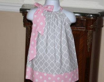 gray quatrefoil Pillowcase dress, gray, pink, baby girl dresses, toddler easter dress 3, 6, 9, 12, 18 mo 2t, 3t, 4T, 5t, 6, 7, easter outfit