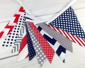 Bunting Banner Flags, Photography Prop, Nautical Nursery Decor - Red, Navy Blue, Gray, Chevron, Grey, Dots, Stripes, Gingham