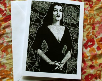 Vampira Art Blank Greeting Card