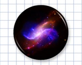 Galaxy Pin or Magnet - Space Design H - Astronomy Pinback Button Badge or Fridge Magnet - 1.25""