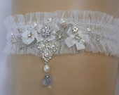 Beaded pearl Garter - Hand beaded with freshwater pearls, and Blue Quartz drop crystal. FREE Domestic shipping