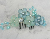 Floral Hair comb in Aqua paired with glass pearls and bi-cone crystal beads for added sparkle in the light.
