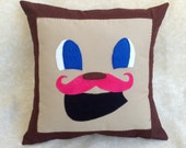 """Tiny Box Tim Pillow Cover!  Pink Warfstache, Mustache, Plush, 14""""x14"""" Square Pillow Cover.  Markiplier Youtube"""