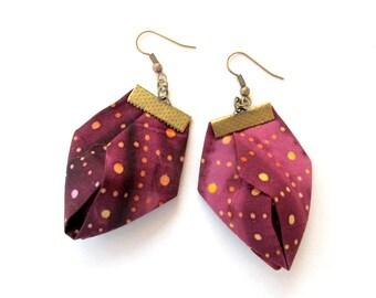 Marsala trendy spring earrings, fabric gift spring earrings, 40th birthday spring earrings