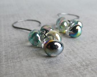 Metallic Green Earrings, Green Dangle Earrings, Dichroic Lampwork Earrings, Oxidized Earrings