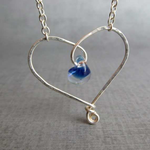 Blue Heart Necklace, Cobalt Blue Lampwork Necklace, Sterling Silver Heart Necklace