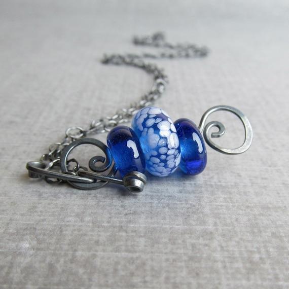 Cobalt Blue Necklace, Blue Lampwork Necklace, Boro Necklace, Oxidized Sterling Silver