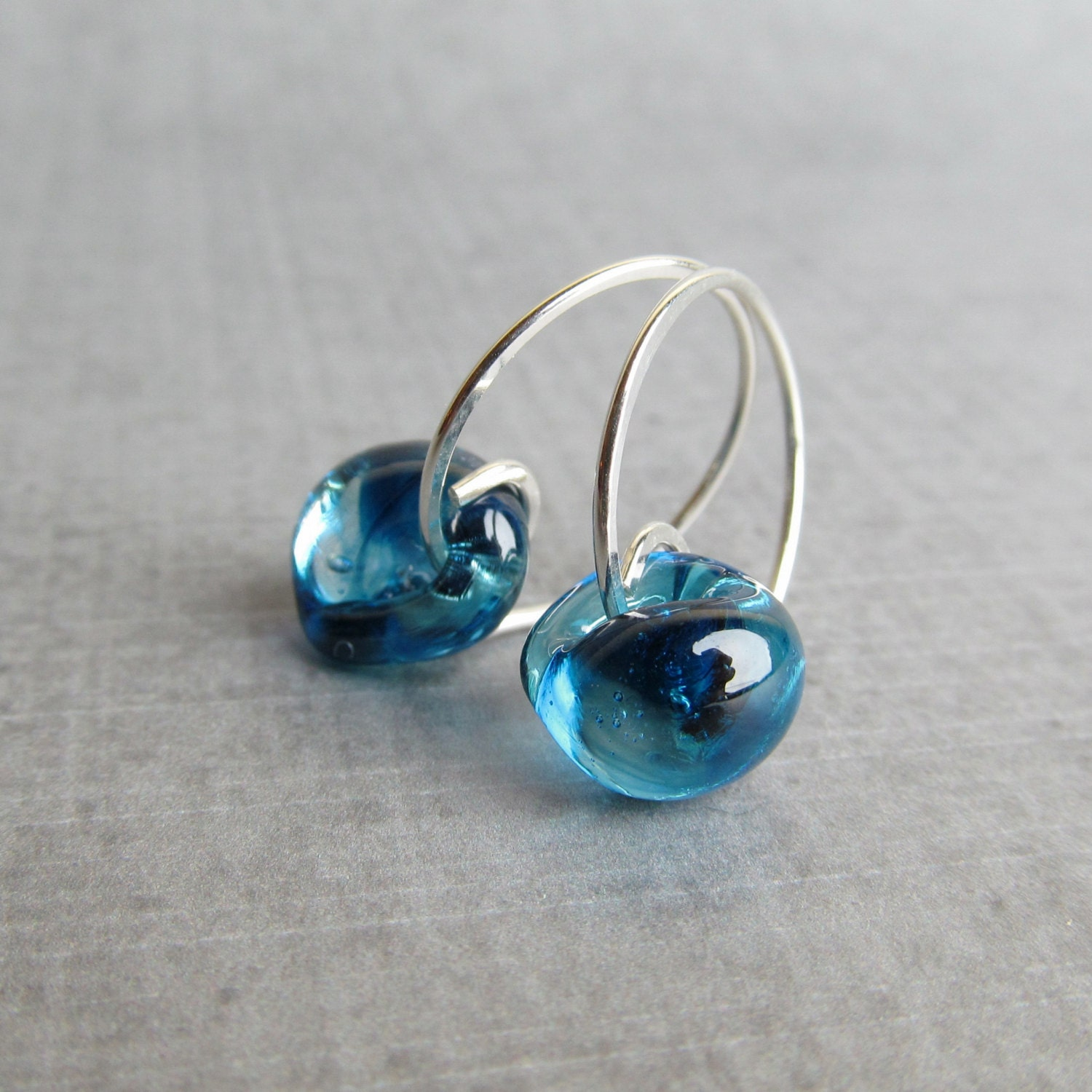 Small Blue Earrings: Blue Hoop Earrings Small Earrings Blue Earrings Blue By