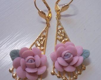 Flower Filigree Earrings W/ Vintage Pink Porcelain Flowers