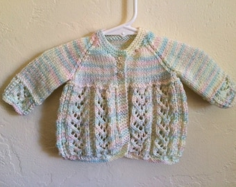Vintage Baby Girls 80's Cardigan Sweater, Pastel, Long Sleeve (9-12 mos.)