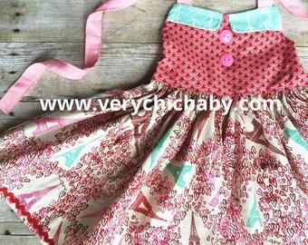 Paris Dress Eiffel Tower Arrows Mint Red Pink Custom Couture Trendy Posh