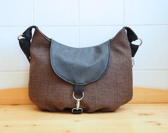 Marigold Medium Cross Body Messenger Bag in Brown Canvas with Black Vegan Leather