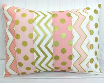 Pillow Cover, Nursery Cushion Cover, Gold Nursery, Girl Nursery Decor, Pillow Cover, 12 x 16 Inches, Gold, Pink, Blush, White, Gold Nursery