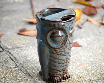 ceramic travel mug handmade eco friendly owl coffee mug