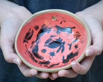 ceramic bowl, small pottery bowl, kitchen prep bowl, ceramic salt and spice dish, rustic kitchen bowl