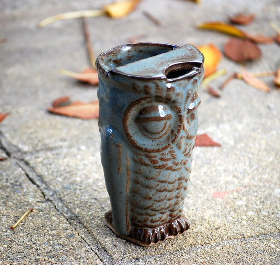 Ceramic travel mug - Unique coffee mug - Handmade Travel mug - Eco friendly mug - owl coffee mug - coffee lover gift