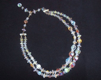 Vintage Aurora Borealis Crystal Double Strand Graduated Bead Choker Necklace Round Diamond and Saucer Shaped Beads