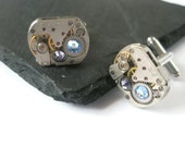 Wedding Watch Movement Cufflinks Steam punk up-cycled Mechanical industrial mens groom best man dad Light sapphire and Amethyst  swarovski