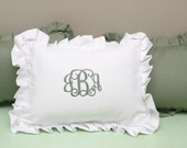 Ruffled Pillow Cover, Monogram Pillow,  Monogrammed Nursery Pillow, Shabby Chic,  Personalized Embroidered Pillow,   Wedding Gift
