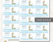 Jungle Jill Blue Giraffe Baby Shower Boy Diaper Raffle Card, Printable PDF INSTANT DOWNLOAD