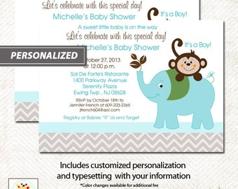 Chevron Gray Elephant and Monkey Baby Shower Invitations, Print your own or Printed Elephant Baby Shower Invitations