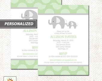 Green Mod Elephant Gender Neutral Baby Shower Invitation, Printed or Printable