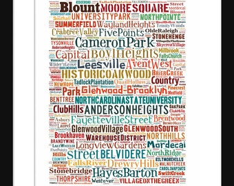Raleigh NC Map Typography Neighborhoods Map Poster Print