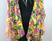 Oversize Kimono Cardigan  tropical flowers and bananas  print,-Chiffon Layering piece-Many colors