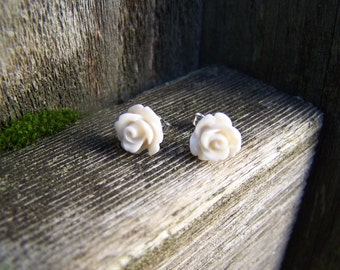 Ecru White Rose with Sterling Silver Post Earrings
