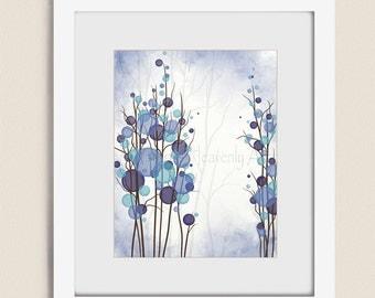 11 x 14 Blue Purple Wall Art for Bedroom, Tree Wall Decor Office Art, Modern Room Wall Art, Interior Decorating (239)