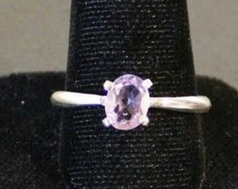 Sterling silver and amethyst faceted gemstone ring