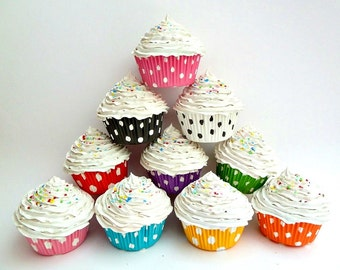 """Fake cupcakes SET OF 3 """"i love polka dot """"  - your Choose of cupckae liners colors graet as photo prop cupcake white frosting"""