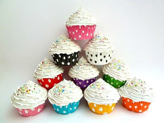"Fake cupcakes SET OF 3 ""i love polka dot ""  - your Choose of cupckae liners colors graet as photo prop cupcake white frosting"