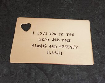 Personalized Copper Wallet Insert with Heart Cut Out - Copper Anniversary Gift - Fathers Day Gift - 7 Year Anniversary Gift - Valentines Day
