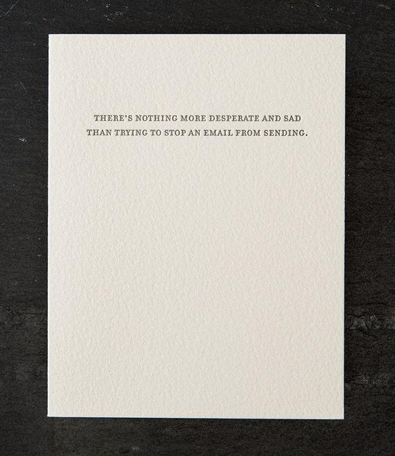 email. letterpress card. #779