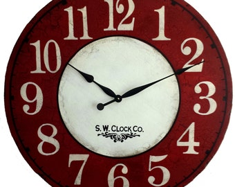 24 inch Devonshire Large Wall Clock Antique Style Red Cream French Country big round tuscan crackle rustic