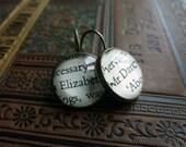 Jane Austen Earrings, Elizabeth and Darcy Earrings, Pride and Prejudice Jewellery, Literature Gift, Book Lover Gift Idea