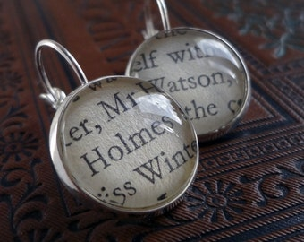 Sherlock Holmes Earrings, Holmes and Watson, Book Earrings, Fandom Gift, Girlfriend Gift, Literary Earrings, Clever Earrings, Grad Gift