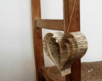 Wedding decoration x 10 Romantic Hearts, Paper Decorations,  Recycled Books, Heart Shaped Pew Ends