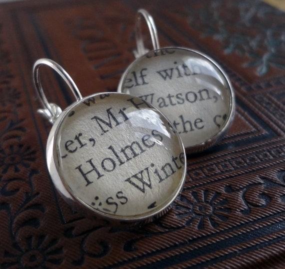 Sherlock Holmes Earrings, Holmes and Watson, Book Earrings, Fandom Gift, Girlfriend Gift, Literary Earrings, Clever Earrings, Grad Gift