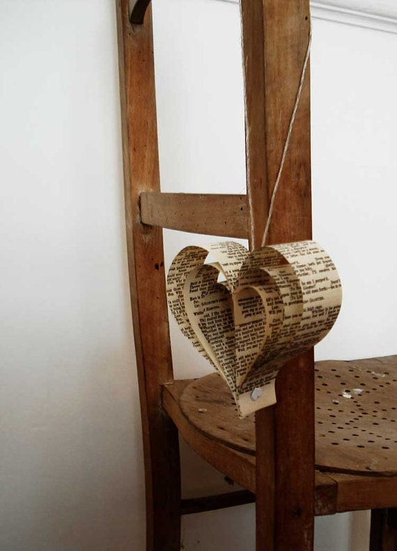 Wedding decoration x 10 Romantic Hearts, Paper Decoratoions,  Recycled Books