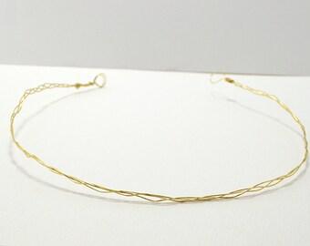 Thin Braided Golden Tiara - Wedding Headband