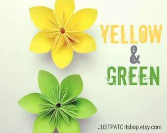 Yellow and Green Theme - Origami Folding Flowers - 20 pcs