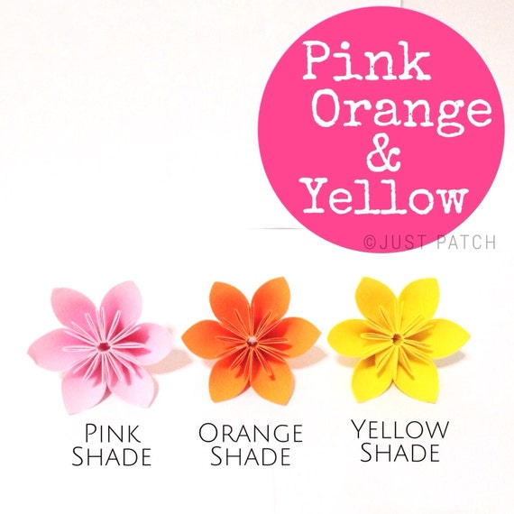Origami Flowers - 20pcs - Pink Yellow and Orange