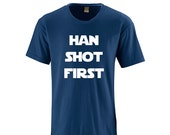 Apericots Hilarious Han Shot First Adult Cotton Tee Sci Fi Inspired Nerdy Nerd Humor on Soft Comfy Cotton